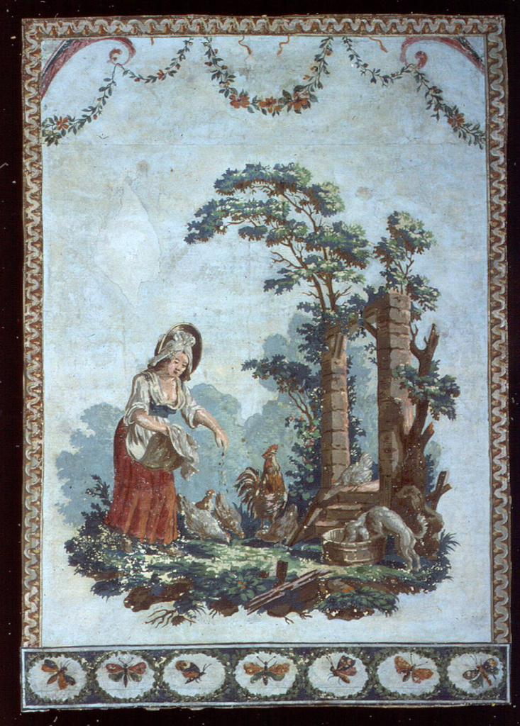 Vertical rectangle. Woman in a red-skirted dress, feeding chickens. Across the bottom is a border of butterflies; across the top a border of festooned flowers and foliage; above this, and along the two sides, a border of simulated cyma reversa molding.