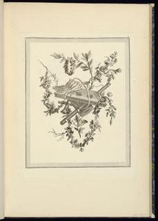 Print, Pl. 4 of 7e cahier de trofées de musique from Oeuvres contenant un recueil de trophées, attributs, cartouches, vases, fleurs, ornemens, et plusieurs dessins agréables pour broder des fauteuils; composés et dessinés par Ranson, et gravés par Berthaut et Voysard