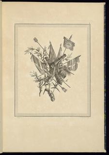 Print, Pl. 4 of 3e cahier de trophées militaires from Oeuvres contenant un recueil de trophées, attributs, cartouches, vases, fleurs, ornemens, et plusieurs dessins agréables pour broder des fauteuils; composés et dessinés par Ranson, et gravés par Berthaut et Voysard