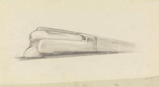 Drawing, Design for K4s Class Streamlined Locomotive, Pennsylvania Railroad