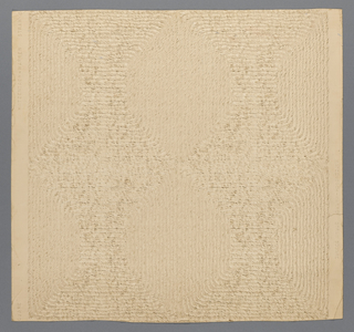 A three-dimensional solid wallcovering that simulates straw matting. The material is an off-white color.