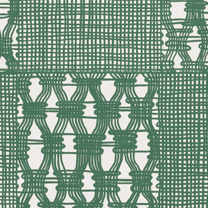 "A ""knitted plaid"" design. Green ""fibers"", probably meant to imitate wool, weave a close but open pattern against a white ground. The design is arranged in checkerboard fashion with the alternating squares having a gathered treatment. Printed in green on white ground. Selvedges have been trimmed."