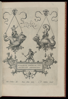 Two pendants in the form of sea monsters hanging from bow knots. Riding on their backs are Apollo and Venus, respectively. Above: Pars Altera.