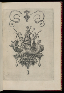 A pendant in the form of a ferocious sea monster perched on a strapwork base is suspended from a bow knot. The base is composed of faceted gems, a mask and dragons, and is hung with three drop pearls. Riding on the monster's back are Poseidon with a triton and two merman with bulrushes.