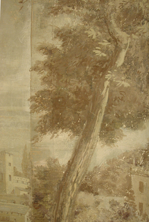 In sepia tones. Scene of a village along a waterway, A small boat with passengers on the water, a small bridge crosses the water. Two figures playing in front of large tree.