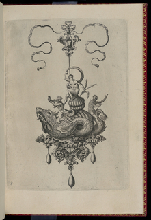 A pendant in the form of a sea monster perched on a strapwork base is suspended from a bow knot. The base is composed of faceted gems, a mask, dragons and cornucopia, and is hung with three drop pearls. Riding on the monster's back is a nude youth seated on a shell, an older man with an oar, and a merman with a shell.
