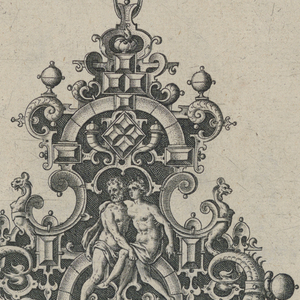 A pendant suspended from a ribbon with a bow knot. Strapwork forms a fleur-de-lys cartouche with three drop pearls. At center, a seated man and woman flanked by dolphins.