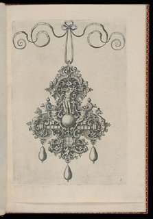 A pendant suspended from a ribbon with a bow knot. Strapwork forms a fleur-de-lys cartouche with three drop pearls. At center is a nude figure standing on a sphere, flanked by two seated nudes.