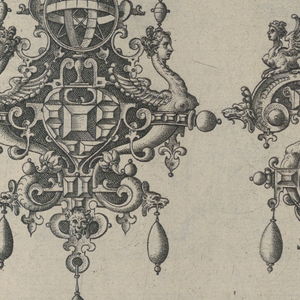 Two designs for pendant suspended from ribbons with a bow knots. Strapwork forms the pendant cartouches. Each has three drop pearls, and an astrolabe flanked by griffins. The design at right includes a clock.