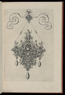 A cruciform pendant suspended by a jeweled string from a small ornament tied to a bow knot. Strapwork forms a cartouche with three drop pearls. At top, Apollo and his lyre flanked by two seated women and griffins.