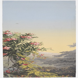 Part of: 24 scenic strips and 5 plain overdoors of Zuber paper, depicting Gothic architecture, temple ruins, mountainscapes, heavy vegetation of flowers and trees, and peacocks.