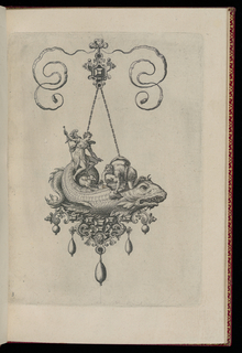 A pendant in the form of a sea monster with five drop pearls is suspended from a bow knot. On its back is a kneeling man with a knife, removing a scale, and a seated angel with a dog.