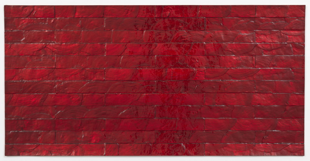 Capiz shells are hand-inlaid in a brick pattern with a bright red surface coating