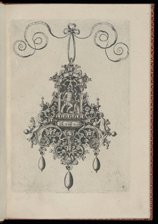 A pendant suspended from a ribbon with a bow knot. Strapwork forms a cartouche with three drop pearls. On either side are nude figures straddling griffins. Above, a seated figure in an archway.