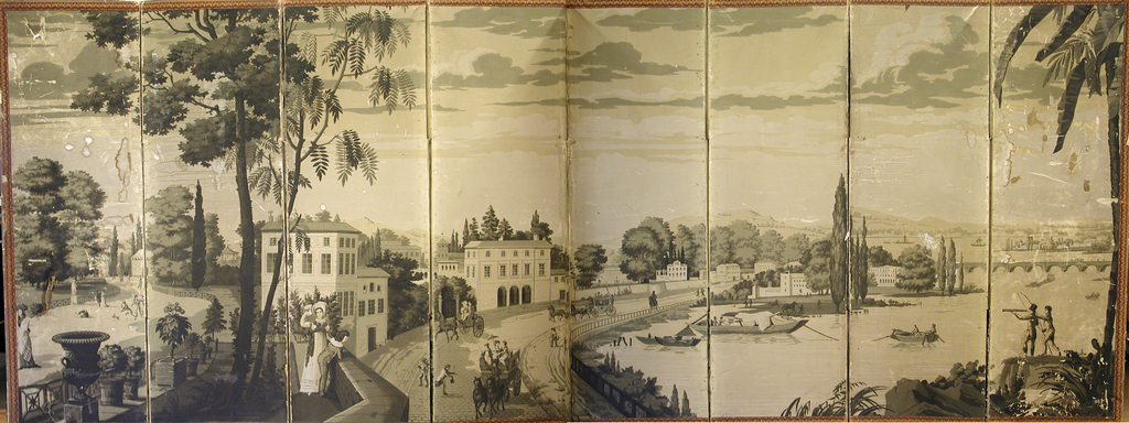 "Eight-paneled screen, covered with wallpaper. Early 19th century ""Landscape Paper"", printed in sepia tones. Portion of ""Jardin Baujon bei Neuilly"". Wallpaper on the verso is blue rosettes on gray ground.  The end two panels have been wiped clean of blue rosettes. Cobblestone road with horse-drawn carriages runs through the mniddle of the scene. Buildings off to the left side with the boat-filled harbor on the right"