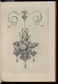 A pendant in the form of a sea monster perched on a strapwork base is suspended from a bow knot. The base is composed of faceted gems, a mask and griffins, and is hung with three drop pearls. Riding on the monster's back is a nude woman with a cloth and a merman with a shell.