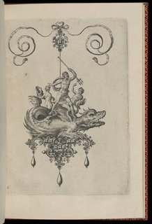 A pendant in the form of a mythical beast perched on a strapwork base is suspended from a bow knot. The base is composed of faceted gems, a mask and winged goat, and is hung with three drop pearls. Riding on the monster's back is a male figure holding a trident and two nudes with shells.
