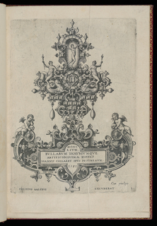 Print, Plate 1, Title page from a suite of ten, entitled Monilium Bullarum Inauriumque Artificiocissimae Icones, Ioannis Collaert Opus Postremum (Designs for Necklaces, Pendants and Earrings of the Highest Skill, the Final Work by Joannis Collaert)