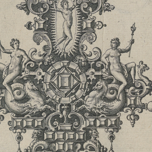 Strapwork forming a cartouche broadly in the form of a fleur-de lys. Details include snails, butterflies, faceted gems, drop pearls and sea horses. At top, a nude figure within a frame decorated with vases. Below are two winged putti with skulls.