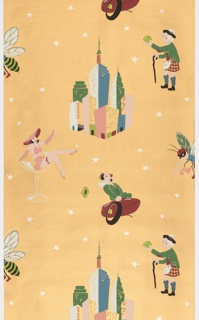 Cocktail or bar paper with motifs representing drinks including a Pink lady, Manhattan, Sidecar, Scotch and lime, and a Stinger. Printed in pink, green red, blue, silver, and black on a metallic copper ground. Embossed with horizontal ribbing.