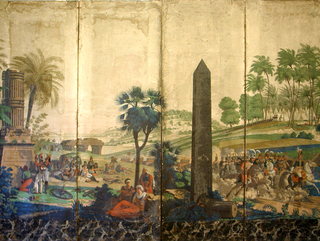 """Four panels from """"Les Francais en Egypt"""" pasted on a screen. The inscription beneath the broken column in left foreground panel is """"Le 20 Mars 1800, 10,000 Francais Commandes par le Brave Kleber ont vaincu 80,000 Turcs dans les plaines d'Heliopolis.."""" The second panel shows conquered Turks resting, and marching French soldiers.The third panel, a tall obelisk; the fourth, the French encampment with a group of cavalry led by Kléber on a white horse. Vivid colors with a grey sky and a black marbleized border at bottom."""