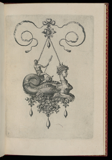 A pendant in the form of a mythical beast perched on a strapwork base is suspended from a bow knot. The base is composed of faceted gems, a shell and dragons, and is hung with three drop pearls. Riding on the monster's back is a male figure holding an oar.