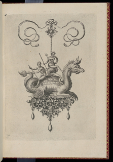 A pendant in the form of a sea monster perched on a strapwork base is suspended from a bow knot. The base is composed of faceted gems and a horned term figure, and is hung with three drop pearls. Riding on the monster's back is a bearded nude with a trident and a youth with an oar.