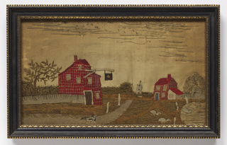 Rural scene with red tavern and pond with ducks and weeping willow appliquéd in wool felt and embroidered on a silk ground.