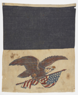 Military flag. Blue at top. Eagle clutching a flag at the bottom. Stenciled at the bottom is the name CAPWELL. Grommets at the top of the flag.
