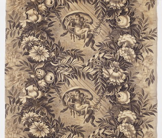 Woman surounded by putti swinging on a vine between columns of flowers. in sepia on off-white.