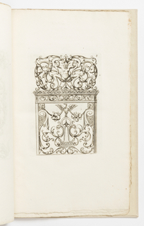 Vertical rectangle showing an escutcheon surrounded by scrollwork. Perched above is a bird with fruits and masks. Above, symmetrical arabesques with greenmen.