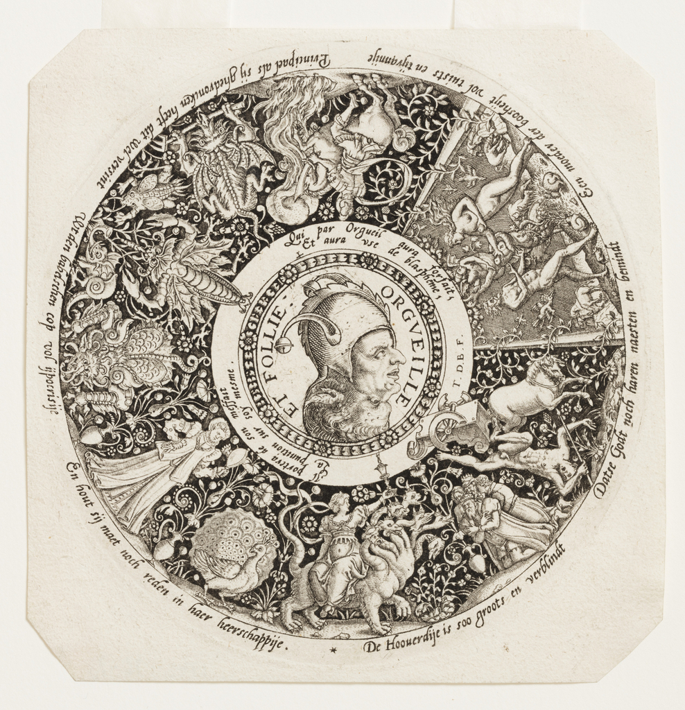 Double head of two men, one of whom wears a fool's cap, in the center, embodying Pride and Foolishness, which form the theme of the representations in the outer circle: the wife upon the dragon of the Revelations of St. John; Phaeton's death; the original sin; Marcus Curtius jumping into the abyss; a woman with a looking glass; a peacock; monsters.  Inscriptions in Low German and French.