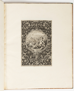 Print, River God, plate from a suite of 6 ornamental designs with the Judgement of Paris