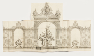 At the center of this gate, there is a fountain with Neptune about to use his trident to spear the figure of a dolphin.  Next to the dolphin, there is a putto.  At the top of each arch of the gate, there is a sizable crown.  On the cartouche in the middle of the gate Fleurs de Lis are featured.  On either side of the cartouche, there are portaits of helmeted warriors.