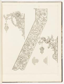Print, Plate, from Recueil des ouvrages en serrurerie que Stanislas le Bienfaisant, roi de Pologne, duc de Lorraine et de Bar, a fait poser sur la Place royale de Nancy, à la gloire de Louis le Bien-Aimé (A Collection of Locksmith's Designs…for the Royal Palace of Nancy), ca. 1763-67