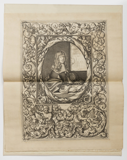 Self-portrait of Hugues Brisville set within an oval medallion enclosed by an ornamental frame composed of grotesques with masks and the heads of various animals; putti and the figures of Time and Minerva terminating in foliate scrolls. Brisville is depicted seated at a table by an open window with a piece of paper and holding a chalk holder and compass in his right hand, a view of a balcony, garden and wrought iron gates beyond. A frame of grotesques with acanthus rinceaux, bird heads, masks, and dogs. At the bottom, two figures with bodies terminating in acanthus leaves, representing Time and Minerva. The left figure, an older man, holds a scroll with a cipher, assisted by a winged child. The right figure wears antique style armor and holds a shield with a coat-of-arms, assisted by the half figure of a putto. At bottom center, an hourglass and owl perched on a flower. At center, the portrait of a man with long hair, seated at a ledge with paper and pen before him. Surrounding him are four winged figures; the one at top left holds a page and draughtman's tools.