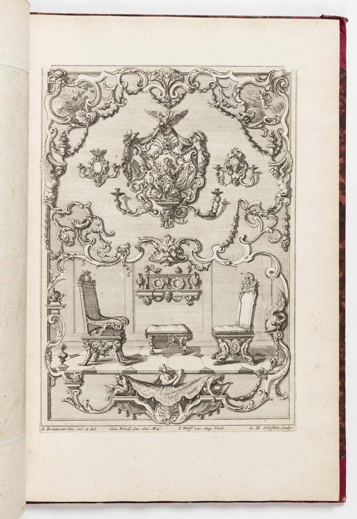 Print, Neüe inventiones von unterschiedlich nützlicher Silber-arbeit... ; a room with two chairs