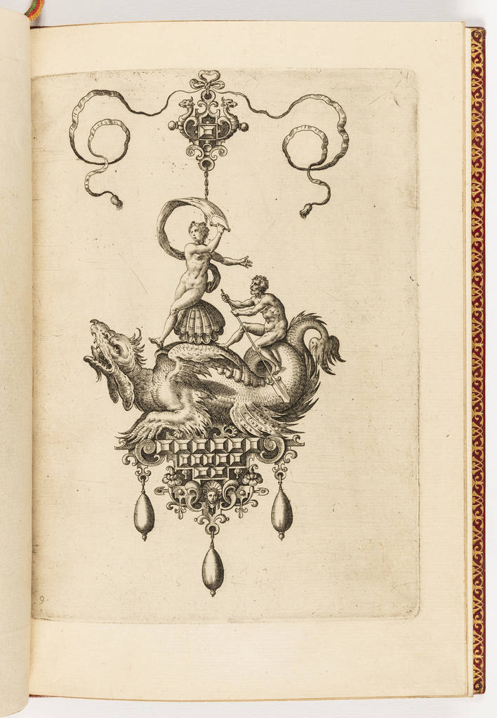 A pendant in the form of a sea monster perched on a strapwork base is suspended from a bow knot. The base is composed of faceted gems, a mask and flowers, and is hung with three drop pearls. Riding on the monster's back is a nude woman seated on a shell, and an older man with an oar.
