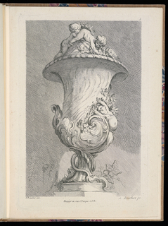 Folio 9, plate 9 of a series of 12. Design for a curving vase influenced by shell forms to be executed in metal, placed on a pedestal. On the body, an elongated putto stretching, flowers and leaves surrounding the figure. On the lid, two playing putti. A snake or tail-like form coiled around the base.