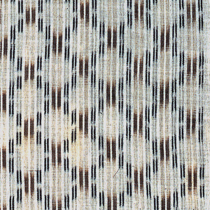Kimono textile with a pattern of a small-scale lattice formed by ikat blazes in brown and dark blue strategically placed in a white ground.