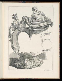 Folio 12, plate 12 of a series of 12. Design for mounts of a ewer or vase influenced by shell forms to be executed in jasper. A figure of a young boy reclines on rocks, shells, and flowers on the lid, a goat with a long tail decorates the handle, and acanthus and scroll motifs adorn the foot. At right, a line drawing of the ewer to which the mounts would be attached.