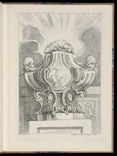 Folio 2, plate 2 of a series of 12. Design for a vase to be executed in metal with curving fluted forms, placed on a pedestal. Sacrificial lamb (pascal lamb) at top, head and wings of putto at either side. At front, a plaque in the form of an escutcheon with a figural scene featuring a bishop and supplicant. In the background, a frieze carved in relief near bottom. Above, an open sky with sunlight radiating beyond the lamb's body between groups of clouds.