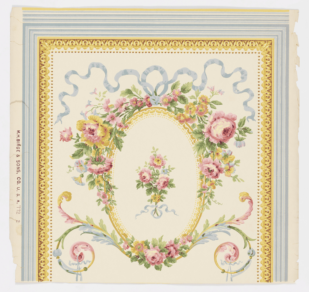 """a) Panel outlined in stripes of two shades of blue and in architectural molding and beading in shades of yellow on white ground. In center: vertical bands of pink roses and blue ribbons with geometric motifs in beige between; b) continuation to top """"a"""". Crown frieze with central medallion of flowers and blue ribbon and arabesques from which the bands of """"a"""" are pendant."""