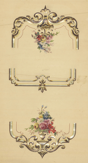 Three design elements printed on a tan ground. Each of the three elements is a different example of a frame style. The outer two elements each contain an urn with a bouquet of flowers that is hand painted. THe frames printed in colors and metallic pigments.