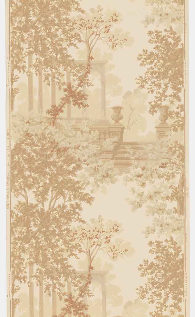 On cream ground, landscape design printed in shades of beige and brown. Setting includes trees, garden stairs, urns and columns.