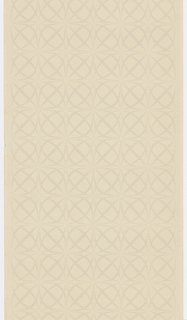 Design composed of overlapping circles and squares, forming four-leaf clover or pinwheel motifs. Printed in tan on a beige ground.