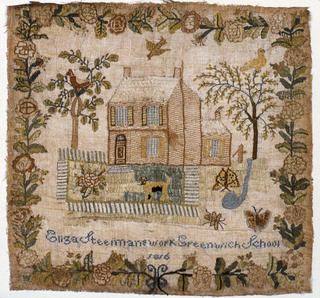 Scene showing a house flanked by two trees, a garden with a fence, a dog, birds and butterflies. Surrounded by a rose border and inscription.