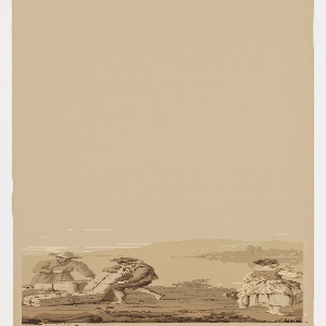 "Panoramic paper depicting the coast of Villefranche in southeast France. The paper contains scenes of the harbor with ships, architectural ruins, figures, cows, goats and sheep. Printed in 8 warm shades of tan. A full set of 14 panels. ""La Cote"" requires 157 wood blocks to print in this colorway."