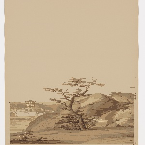 """Panoramic paper depicting the coast of Villefranche in southeast France. The paper contains scenes of the harbor with ships, architectural ruins, figures, cows, goats and sheep. Printed in 8 warm shades of tan. A full set of 14 panels. """"La Cote"""" requires 157 wood blocks to print in this colorway."""