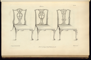 """Page from """"The Gentleman and Cabinet-Maker's Director"""" 2nd edition.  Three chairs with unornamented seats.  The legs and backs are ornamented in the Rococo style with slightly varying details.  The legs and basic structure are very similar."""